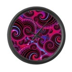 Funky Pink Turquoise Swirl Large Wall Clock