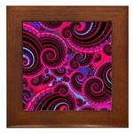 Funky Pink Turquoise Swirl Framed Tile