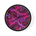 Funky Pink Turquoise Swirl Wall Clock