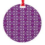Purple Heart and Crossbones Pattern Round Ornament