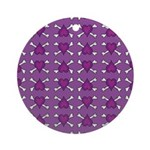 Purple Heart and Crossbones Pattern Ornament (Roun
