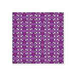 Purple Heart and Crossbones Pattern Square Sticker