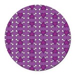 Purple Heart and Crossbones Pattern Round Car Magn
