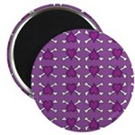 Purple Heart and Crossbones Pattern Magnet