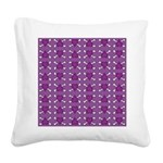Purple Heart and Crossbones Pattern Square Canvas