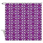 Purple Heart and Crossbones Pattern Shower Curtain