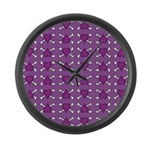 Purple Heart and Crossbones Pattern Large Wall Clo