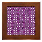 Purple Heart and Crossbones Pattern Framed Tile