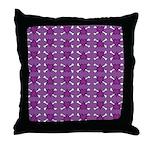 Purple Heart and Crossbones Pattern Throw Pillow