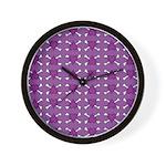 Purple Heart and Crossbones Pattern Wall Clock