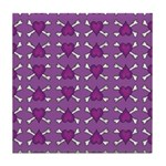 Purple Heart and Crossbones Pattern Tile Coaster