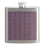 Purple Heart and Crossbones Pattern Flask