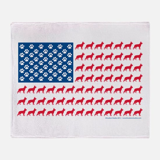 German Shepherd USA American FLAG - Stadium Blank