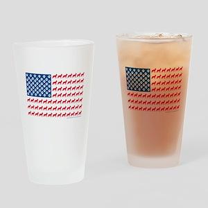 German Shepherd USA American FLAG - Drinking Glass