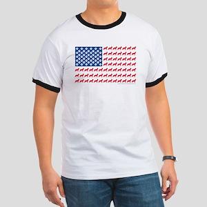 German Shepherd USA American FLAG - Ringer T