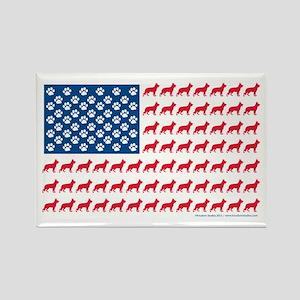 German Shepherd USA American FLAG - Rectangle Magn