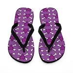 Purple Heart and Crossbones Pattern Flip Flops