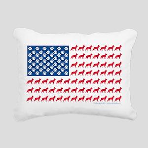 German Shepherd USA American FLAG - Rectangular Ca