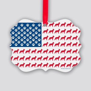 German Shepherd USA American FLAG - Picture Orname