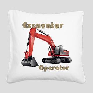 Red Excavator Square Canvas Pillow
