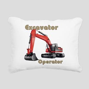 Red Excavator Rectangular Canvas Pillow