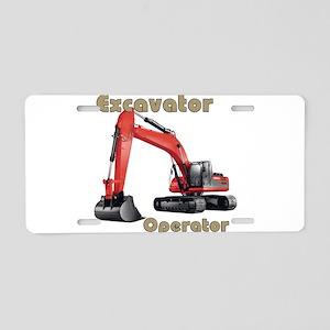 Red Excavator Aluminum License Plate