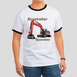 Red Excavator Ringer T