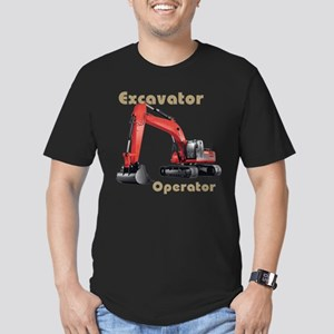 Red Excavator Men's Fitted T-Shirt (dark)