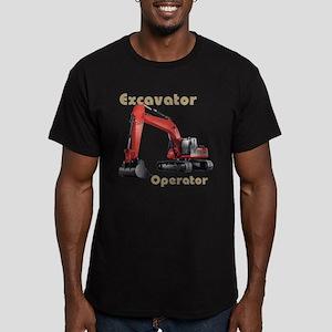 Red Excavator Men's Fitted T-Shirt (dark)