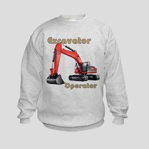 Red Excavator Kids Sweatshirt