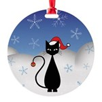 Christmas Cat with Snowflakes Round Ornament