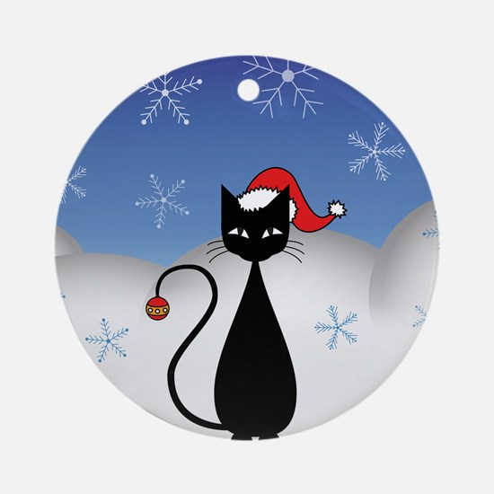 Christmas Cat with Snowflakes Ornament (Round)