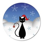 Christmas Cat with Snowflakes Round Car Magnet