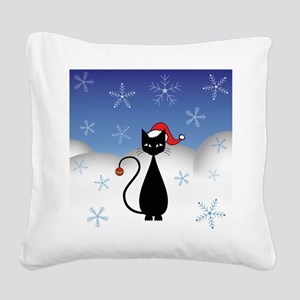 Christmas Cat with Snowflakes Square Canvas Pillow