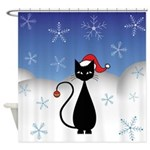 Christmas Cat with Snowflakes Shower Curtain