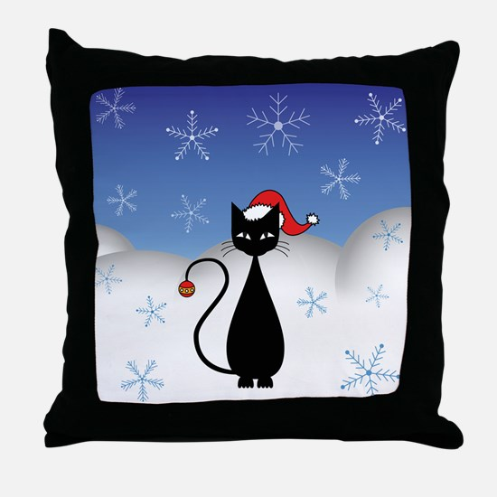 Christmas Cat with Snowflakes Throw Pillow