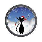 Christmas Cat with Snowflakes Wall Clock