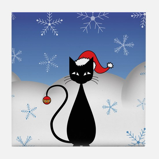 Christmas Cat with Snowflakes Tile Coaster