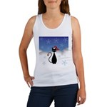 Christmas Cat with Snowflakes Women's Tank Top