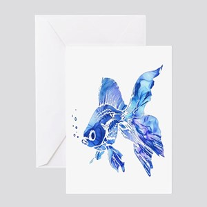 Blue Watercolor Goldfish Greeting Cards