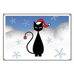 Christmas Cat with Snowflakes Banner