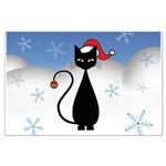 Christmas Cat with Snowflakes Large Poster