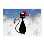 Christmas Cat with Snowflakes 5'x7'Area Rug