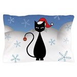 Christmas Cat with Snowflakes Pillow Case