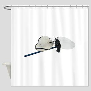 Pith Helmet Binoculars and Netting Shower Curtain