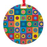 Rainbow Flower Pattern Round Ornament