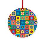 Rainbow Flower Pattern Ornament (Round)