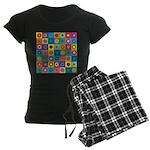 Rainbow Flower Pattern Women's Dark Pajamas