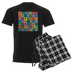 Rainbow Flower Pattern Men's Dark Pajamas