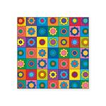 Rainbow Flower Pattern Square Sticker 3